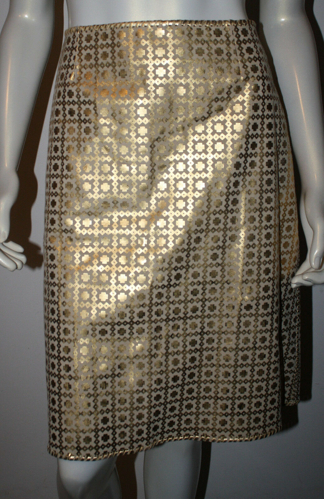 CELINE Natural & gold Calf Leather Pencil Skirt 42 8 10 Finition Main Byzantine