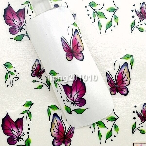 water transfer stickers decals nail art decoration tool Flower Butterfly Design