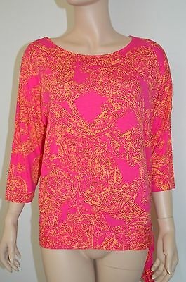 Chicos 1 top bright pink orange blouse paisley side ties Rayon spandex blend