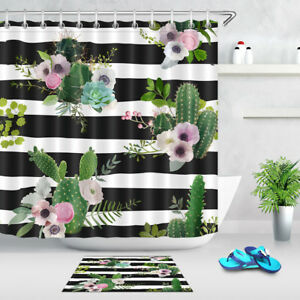 Image Is Loading Cactus Amp Flowers Shower Curtain Set Black And