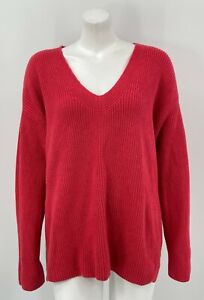 J Jill Womens Pullover Sweater XL Grapefruit Knit Cotton Long Sleeves V-Neck