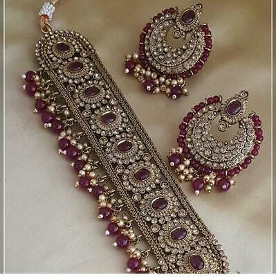 Indian Bollywood Antique Gold Plated Choker Necklace Earring Set