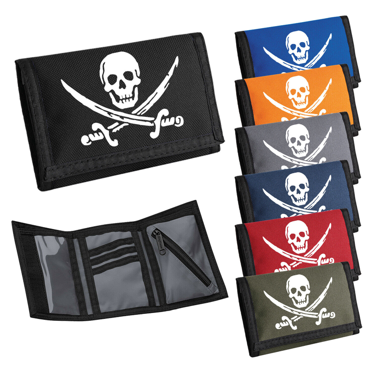 Childs Wallet Pirate Wallet Mens Boys Wallet Tri-fold Ripper Purse Card Coin
