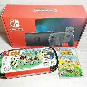 Nintendo Switch Gray Joy Con Console Animal Crossing Game Carrying