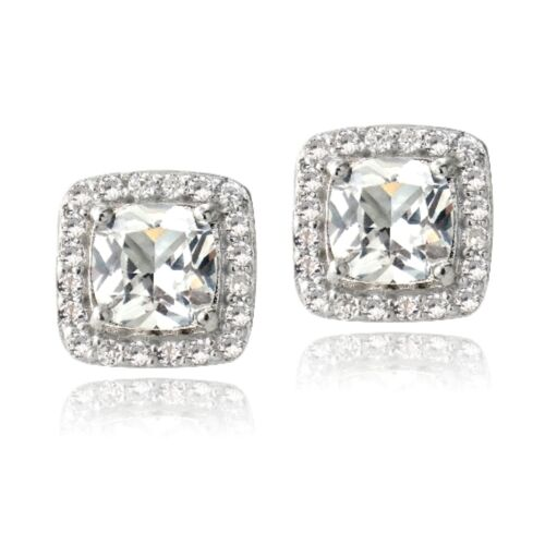925 Silver 3.5ct Created White Sapphire Cushion-Cut Stud Earrings
