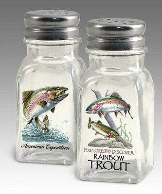 Rainbow Trout Salt & Pepper Shakers Clear Glass Kitchen Stovetop Wildlife Decor