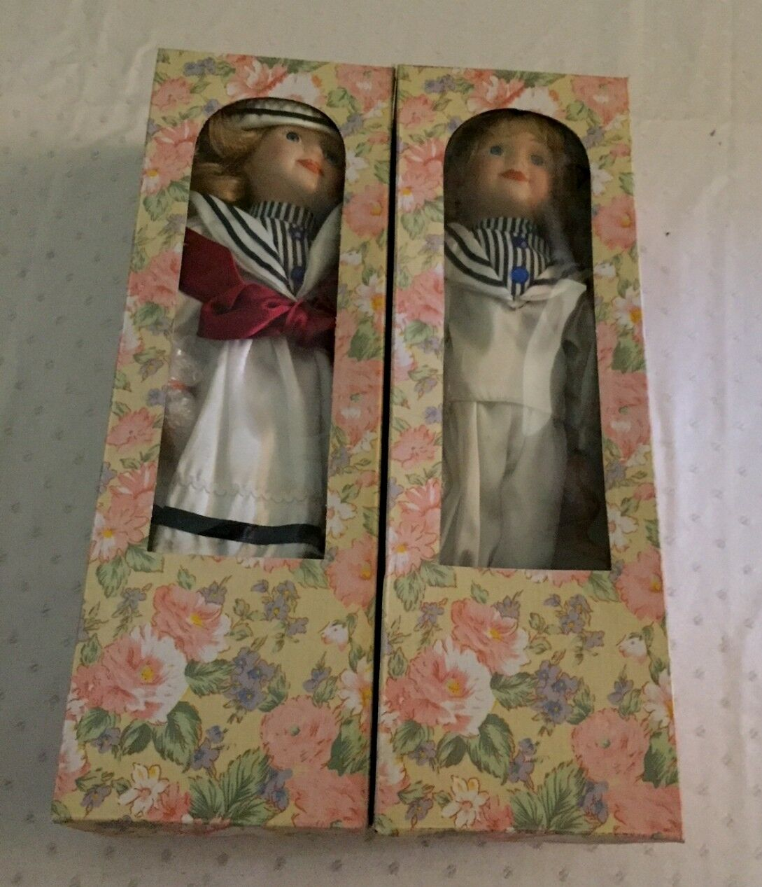 Boy Girl Sailor Porcelain Collectable Doll Set 16  Artmark 1998 New In Box