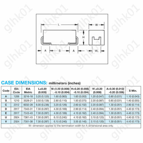 1210 3528 10UF-220UF Tantalum Capacitors 6.3-25V B Type SMD SMT Capacitor