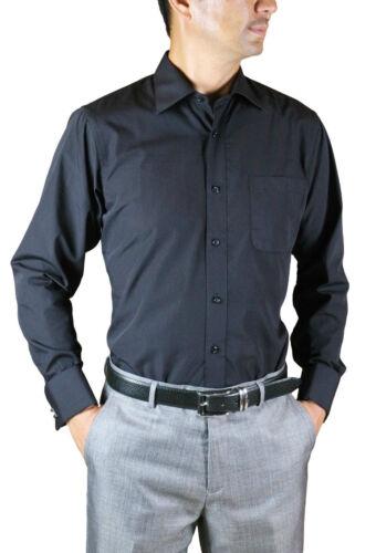 French Cuff Dress Shirt Plain Black Amanti Wrinkle-Free Cotton Blend Modern Fit
