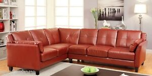 Lounging Sectional Sofa Mahogany Red Color Leatherette Contemporary Design Set