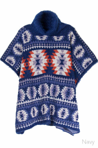 ScarvesMe Women/'s Warm Cold Weather Aztec Turtle Neck Knit Shawl Cover Up Poncho