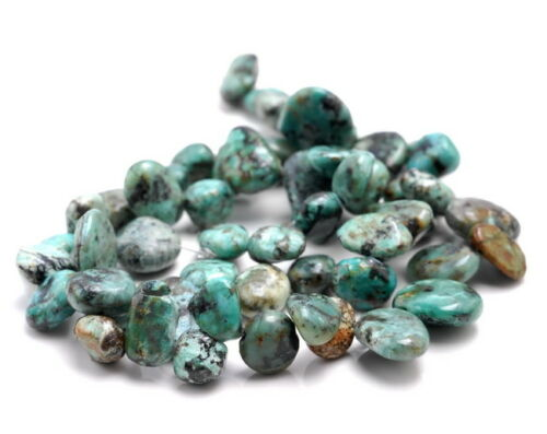 """9-11MM AFRICAN TURQUOISE GEMSTONE PEBBLE NUGGET CHIP LOOSE BEADS 15.5/"""""""