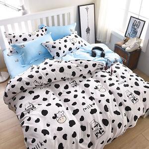 White-Black-Cow-Bed-Pillowcase-Quilt-Duvet-Cover-Set-Single-Queen-King-Size