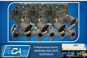 Ford-250-X-flow-Alloy-Head-GENUINE-Triple-WEBER-45-DCOE-Carburettor-Set