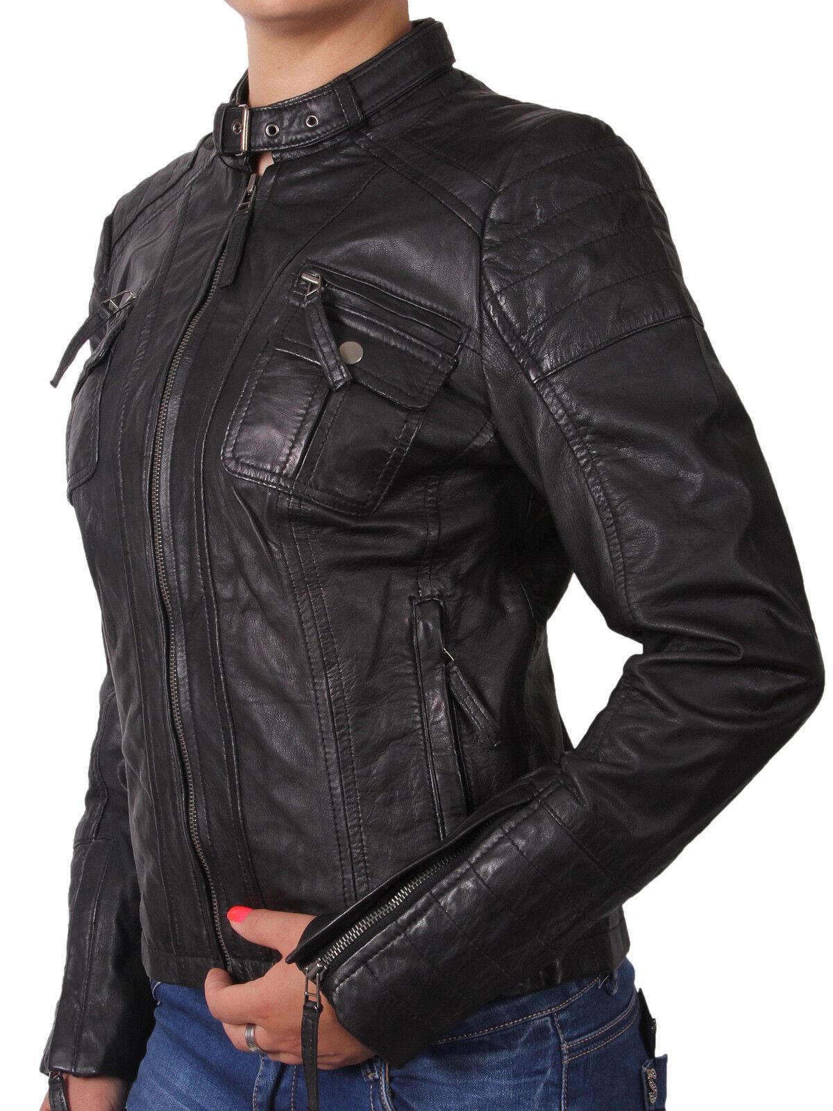 Brandslock damen Leather Biker Jacket Genuine LambSkin Vintage Retro Rock