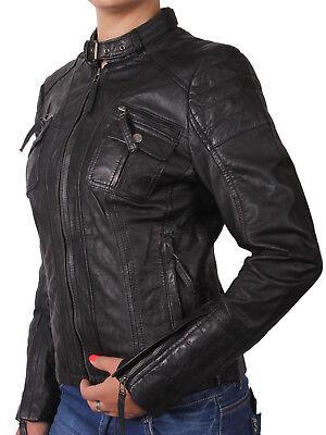 Brandslock Womens Leather Biker Jacket Genuine LambSkin Vintage Retro Rock | eBay