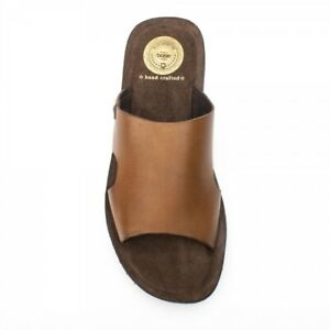 Base-London-ARENA-Mens-Leather-Slip-On-Summer-Beach-Mules-Sliders-Sandals-Tan
