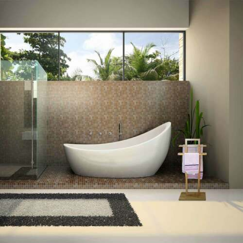 Towel Earth Bamboo Wooden with 2 Bars for Bathroom 37x25x85cm