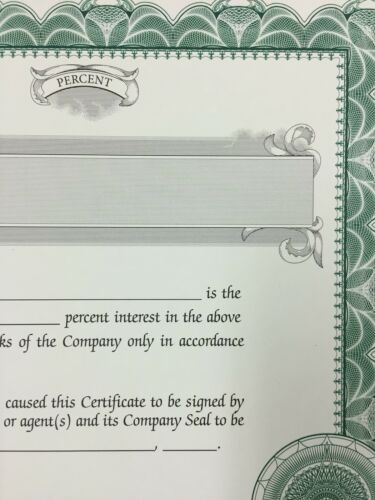 Customizable StockSmith 100 Green Stock Certificates for LLCs with Percent