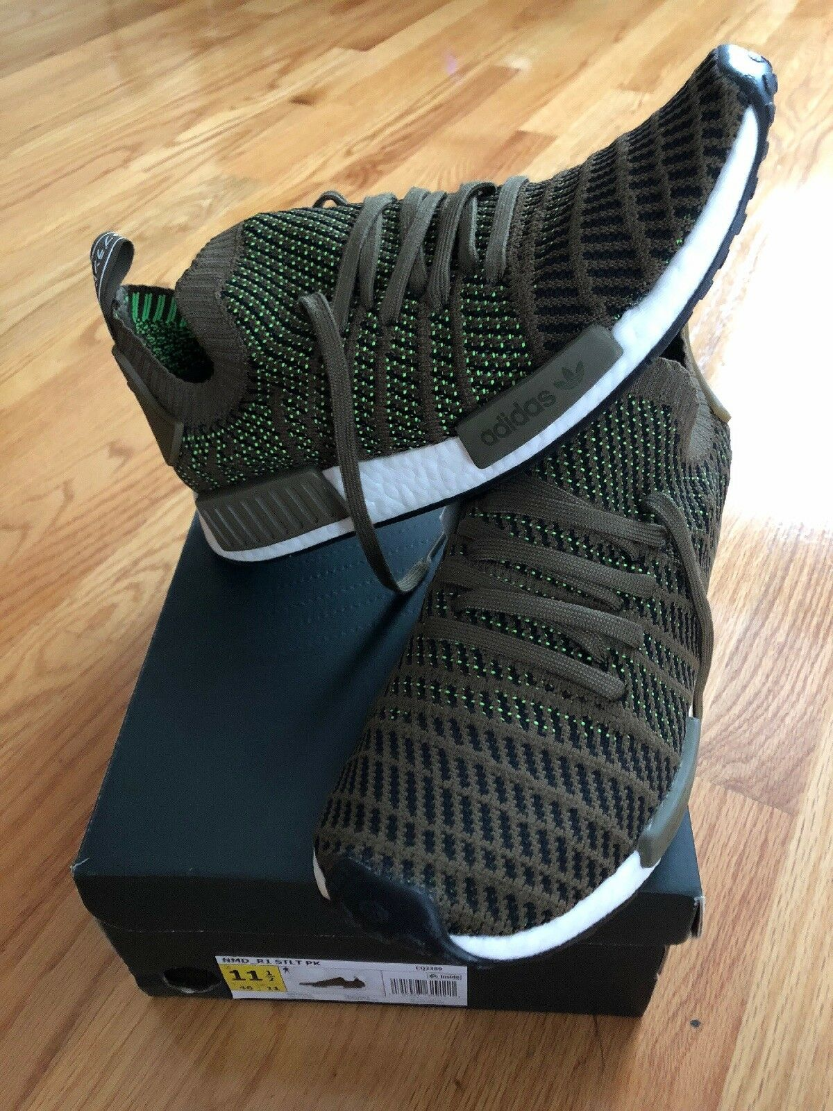 Adidas Adidas Adidas Boost NMO_R1 STLT pK New Dark Brown Green Size 11.5 Mens cf9f8a