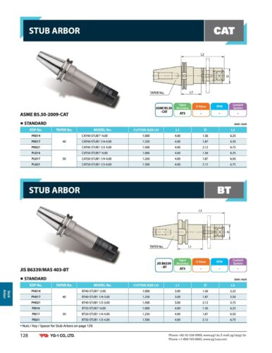 """CAT40 Stub Arbor by YG1 For Milling Cutters /& Saws with 1-1//4/"""" Arbor Hole"""