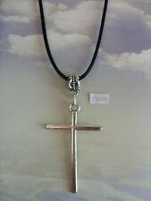"A Large Cross Tibetan Silver Charm Pendant, Long ( 30"" ) Black Chain Necklace"