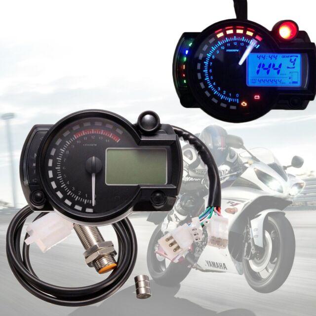 Universal Motorcycle LCD Digital Sdometer Tachometer Odometer Gauge on