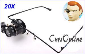 Occhiali-Singola-Lente-Ingrandimento-20x-Luce-a-Led-Manutenzione-Orologio-Repair