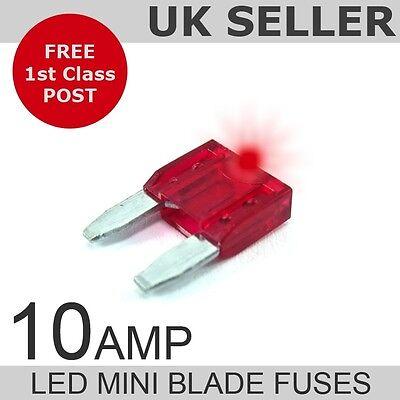 LED 10A Amp Mini Blade Fuses *Quantity 10*