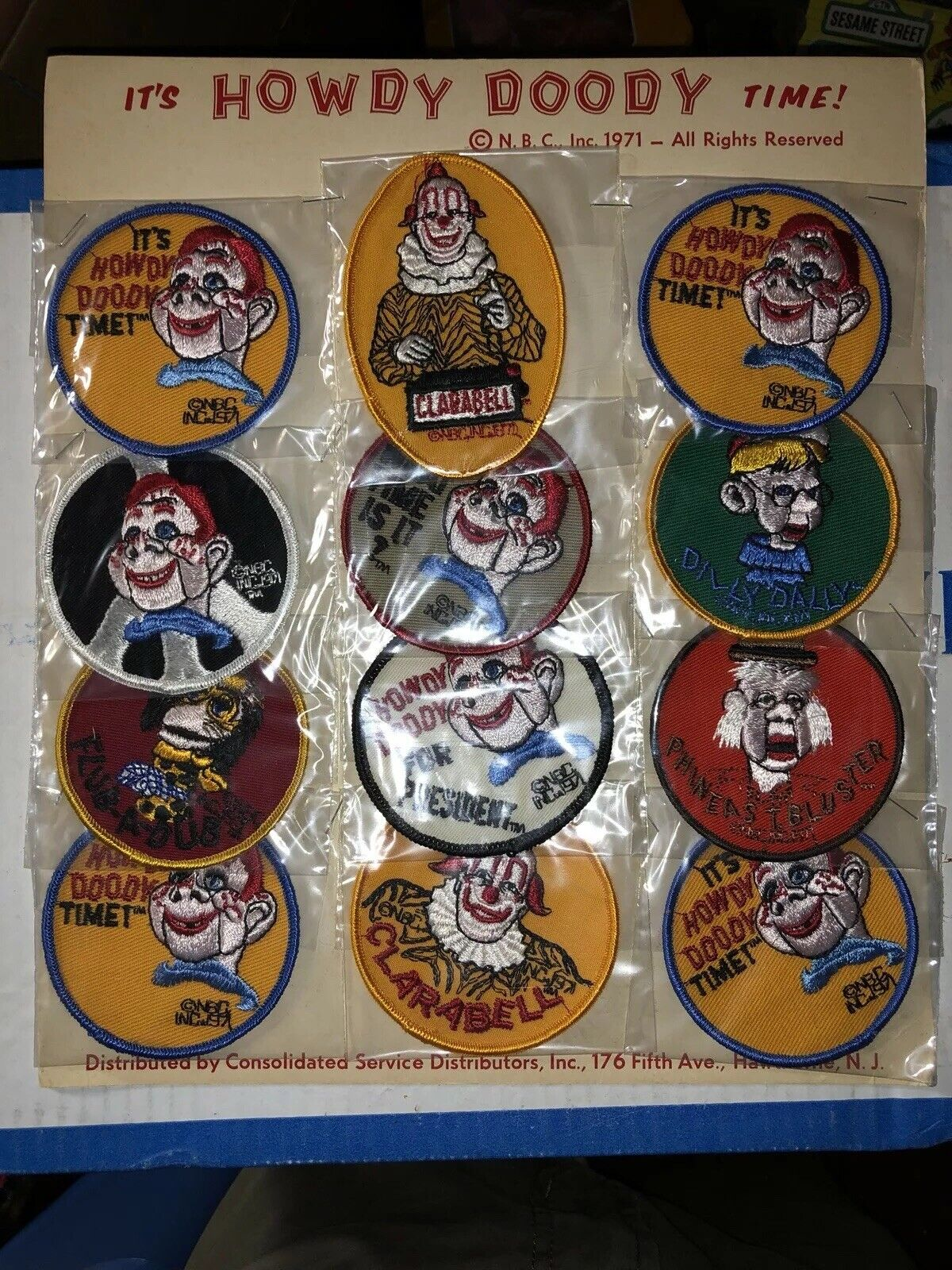 Vintage 1971 NBC NOS IT'S HOWDY DOODY TIME Patch Display 12 Pcs Clarabell Rare