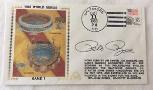 Gateway Silk Cachet PETE ROSE Signed FDC 1983 World Series Game 1