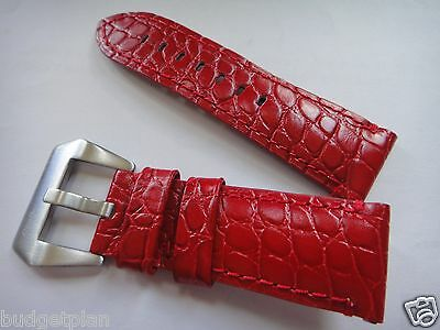 24mm or 22mm Genuine Leather Band Strap bracelet shinny RED (FITS) Panerai
