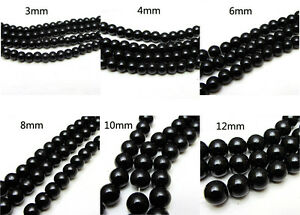3MM-4MM-6MM-8MM-10MM-12MM-Glass-Pearl-Czech-Round-Loose-Jewelry-Beads-black
