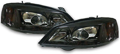 Black clear finish Xenon headlights front lights for Opel Astra G 97-04