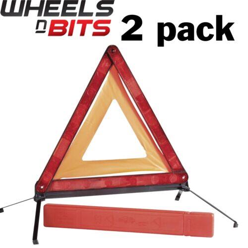 2X Large Reflective Car Warning Triangle Breakdown Hazard Road EU Emergency NEW