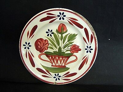 Continental C.sarreguemines Antique Structural Disabilities Plate Painted Hand Basket Flower Faience U Pottery, Porcelain & Glass