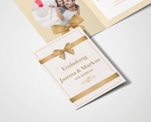 Einladungskarten Hochzeit Hochzeitskarten mit Druck goldene Schleife
