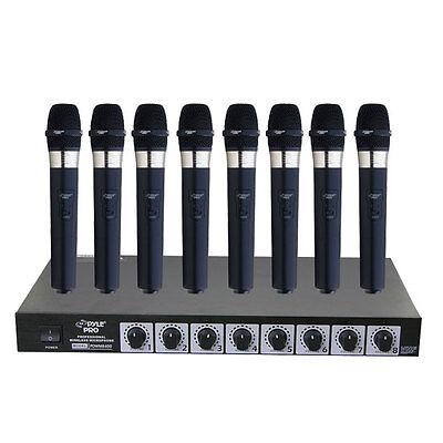 New Pyle PDWM8400 8 Mic Professional Handheld VHF Wireless Microphone System