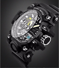 Black Sports Watch Digital Analog Waterproof  Quartz Watch Military Men's Unisex