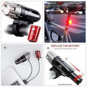 Lights Rechargeable 18650 Bicycle Torch Front /& Rear Lamp Set LED Mountain Bike