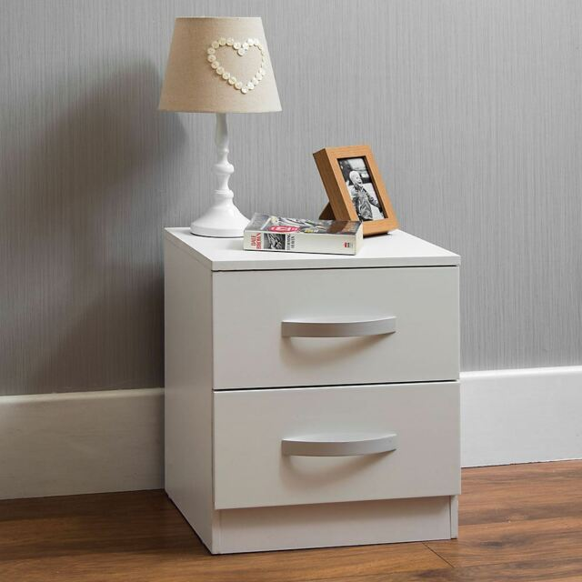 Hulio High Gloss Bedside Table White 2 Drawer Metal Handles Bedroom Furniture