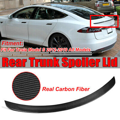 For Tesla S Model S Carbon Fiber Rear Trunk Spoiler Glossy Carbon 2012-2017