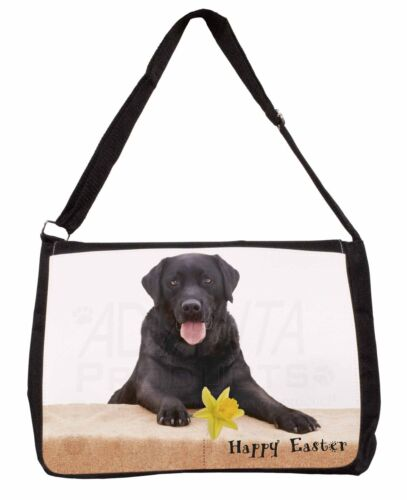 'Happy Easter' Black Labrador Large Black Laptop Shoulder Bag Schoo, ADL86DA1SB