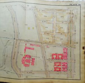 Details about 1919 G W BROMLEY WASHINGTON HEIGHTS MANHATTAN NY PRESBYTERIAN  HOSPITAL MAP ATLAS