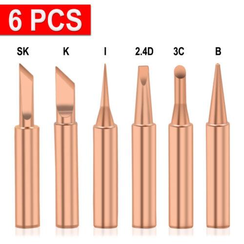 6pcs Copper Solder Iron Tips 900M-T Lead Free Soldering Welding Tool Set Acces