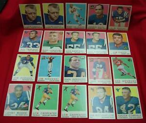 1959-TOPPS-FOOTBALL-20-CARD-LOT-NICE-CONDITION-FOR-THE-AGE-BACKS-NOT-RUBBED
