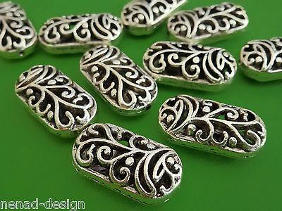 10 Metallperlen OVAL 20mm hohl antik silberfarbig Perlen nenad-design AN064