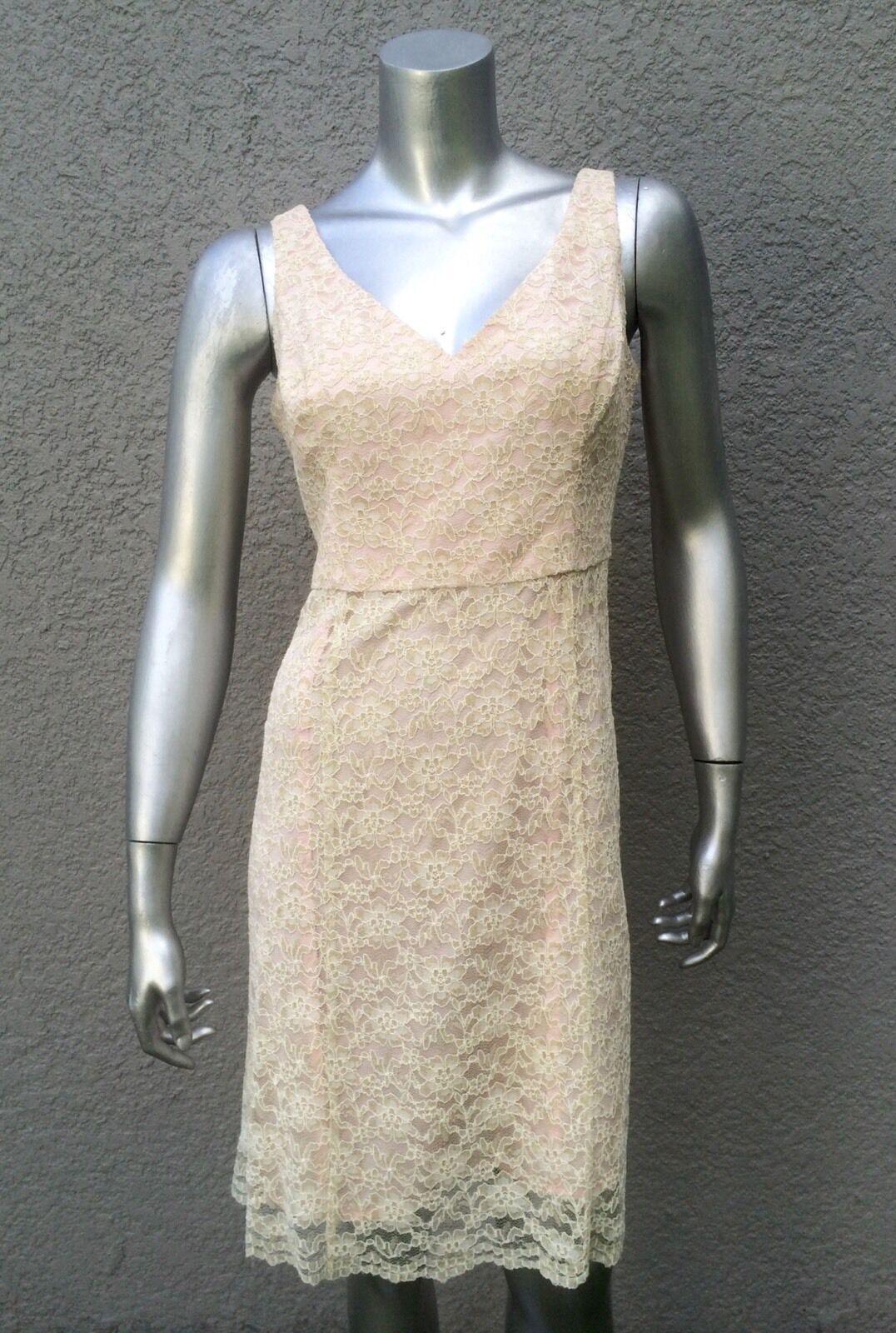 SHOSHANNA Anthropologie Ivory Crochet Lace Overlay Sleeveless Sheath Dress