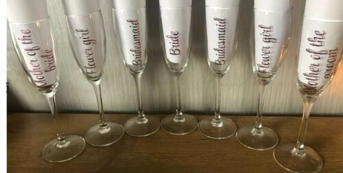 wine glass vinyl ROSE GOLD  stickers names x 10 personalised diy wine glass