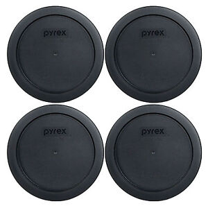 """Pyrex 7201-PC 6"""" Black Plastic Storage Cover Lid 4 Pack New for 4 Cup Glass Bowl"""